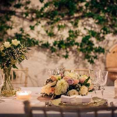 Ivory outdoor wedding reception decor