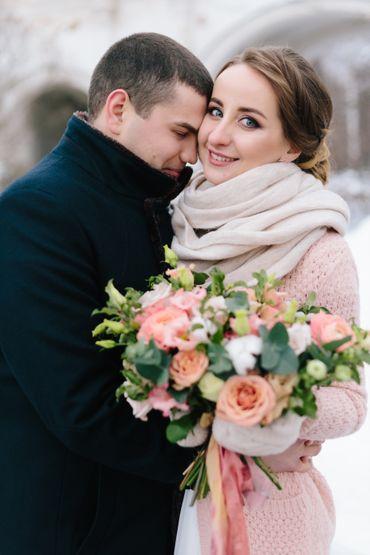 Winter rose wedding bouquet