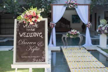 White outdoor wedding signs