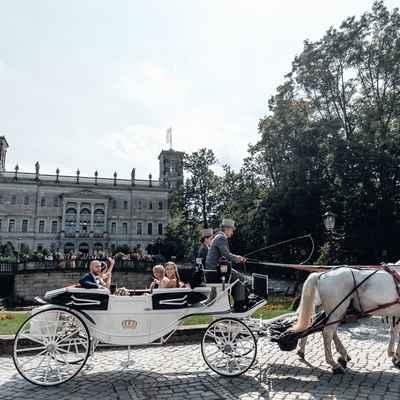 White outdoor wedding transport