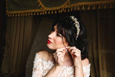 Red bridal hair and make-up