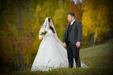 Autumn white outdoor long wedding dresses