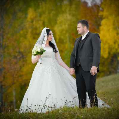Autumn white outdoor long wedding dresses