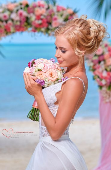 Pink beach rose wedding bouquet