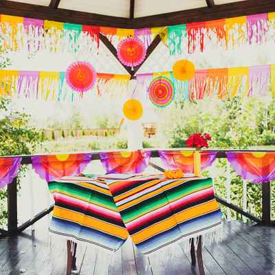 Ethnical summer wedding ceremony decor