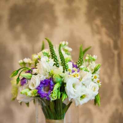 Summer purple daisy wedding bouquet