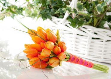 Spring orange tulip wedding bouquet