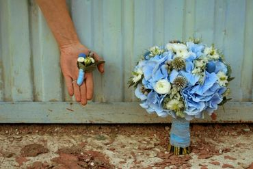 Blue hydrangea wedding bouquet