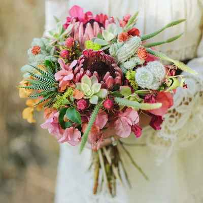 Rustic summer vials wedding bouquet